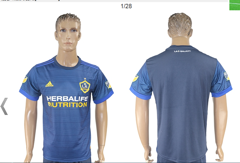 Cheap La Galaxy 17-18 custom season Away Blue Soccer Jersey