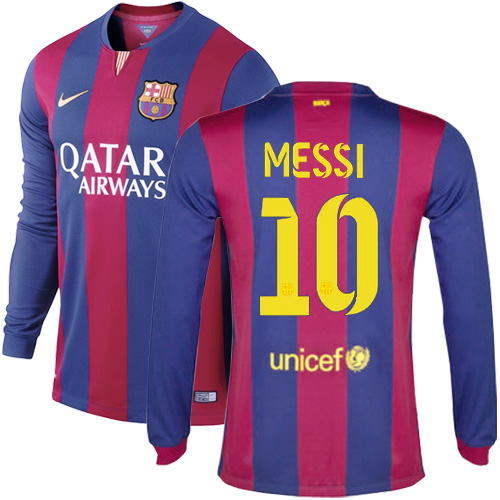 Lionel Messi Authentic Home LS Soccer Jersey 14/15 Barcelona #10