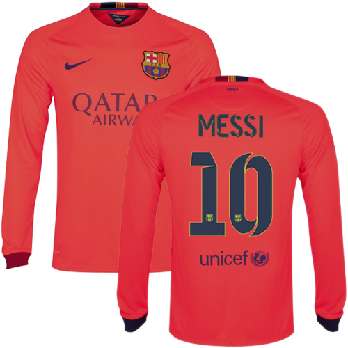 Lionel Messi Authentic Away LS Soccer Jersey 14/15 Barcelona #10