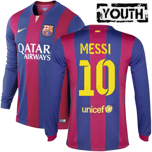 Lionel Messi Youth Home LS Soccer Jersey 14/15 Barcelona #10
