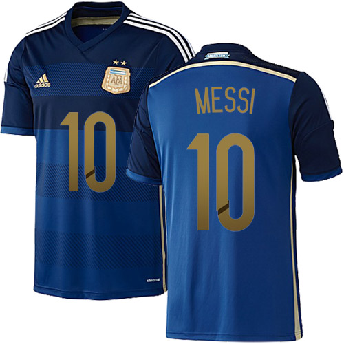 Lionel Messi Authentic Away Soccer Jersey 2014 Argentina #10