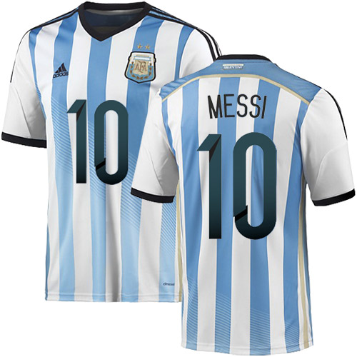 Lionel Messi Home Soccer Jersey 2014 Argentina #10