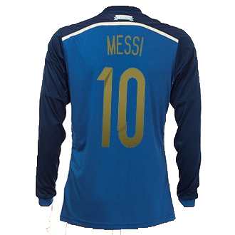 Lionel Messi Away LS Soccer Jersey 2014 Argentina #10