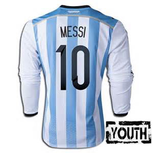 Lionel Messi Youth Home LS Soccer Jersey 2014 Argentina #10