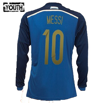 Lionel Messi Youth Away LS Soccer Jersey 2014 Argentina #10