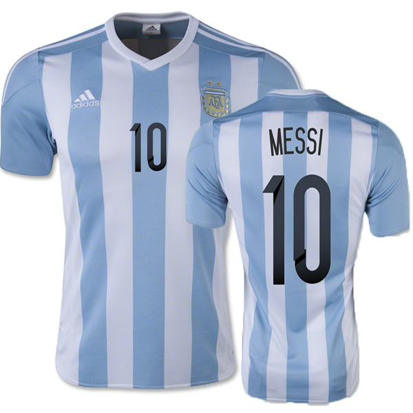 Lionel Messi Authentic Home Soccer Jersey 2015 Argentina #10