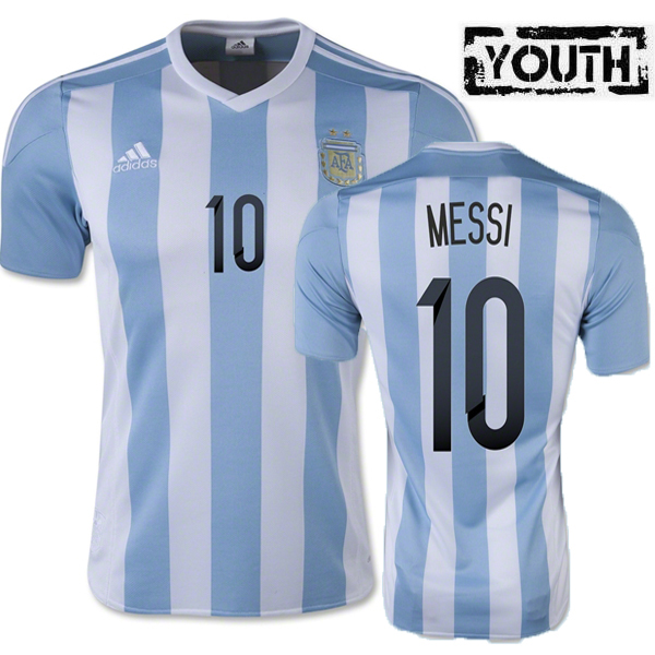 Lionel Messi Youth Home Soccer Jersey 2015 Argentina #10