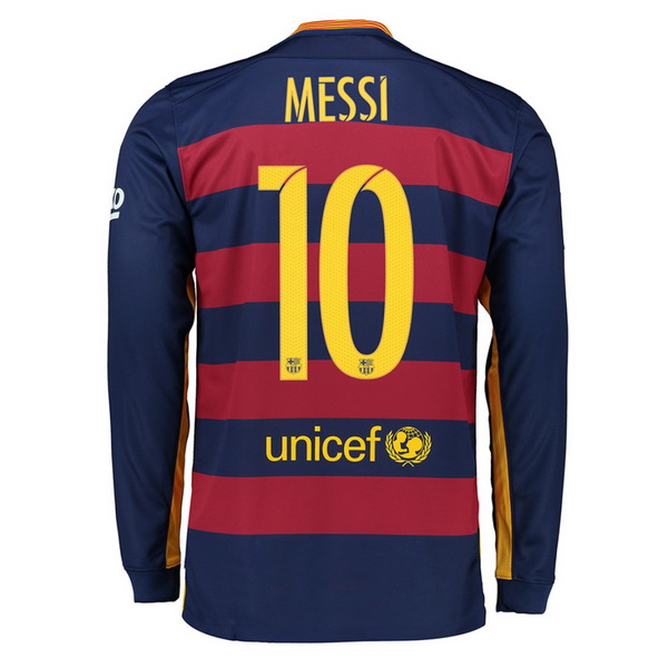 Lionel Messi Authentic Home LS Soccer Jersey 15/16 Barcelona #10