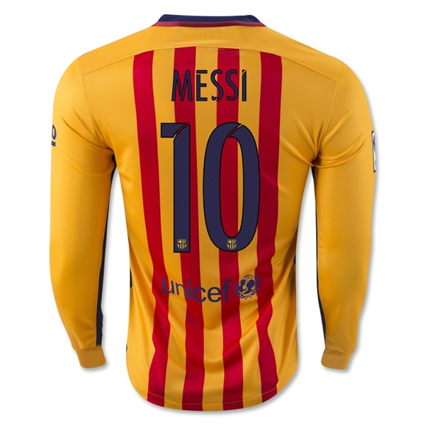 Lionel Messi Youth Away LS Soccer Jersey 15/16 Barcelona #10