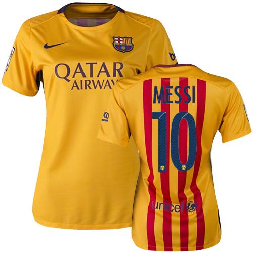 Lionel Messi Women's Home Soccer Jersey 15/16 Barcelona #10
