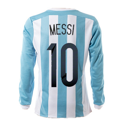 Lionel Messi Authentic Home LS Soccer Jersey 2015 Argentina #10