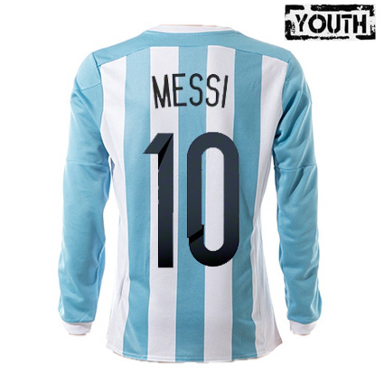 Lionel Messi Youth Home LS Soccer Jersey 2015 Argentina #10