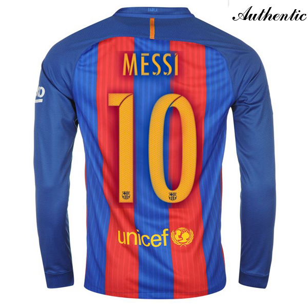Lionel Messi Authentic Home LS Soccer Jersey 16/17 Barcelona #10
