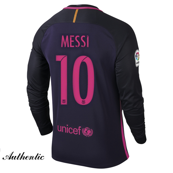 Lionel Messi Authentic Away LS Soccer Jersey 16/17 Barcelona #10