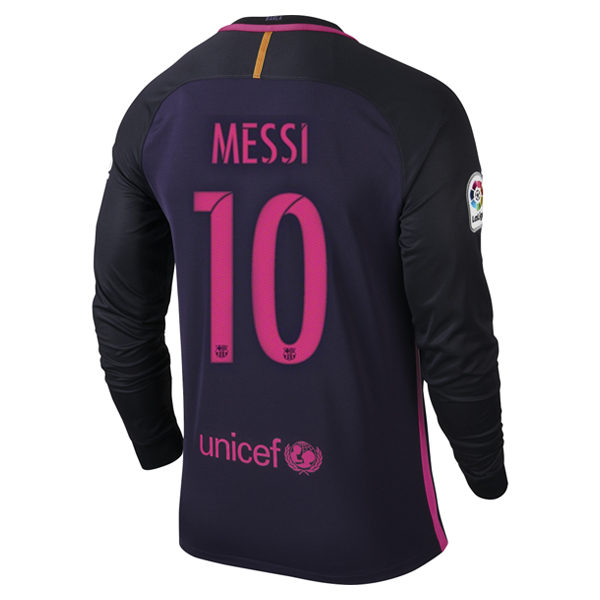 Lionel Messi Away LS Soccer Jersey 16/17 Barcelona #10