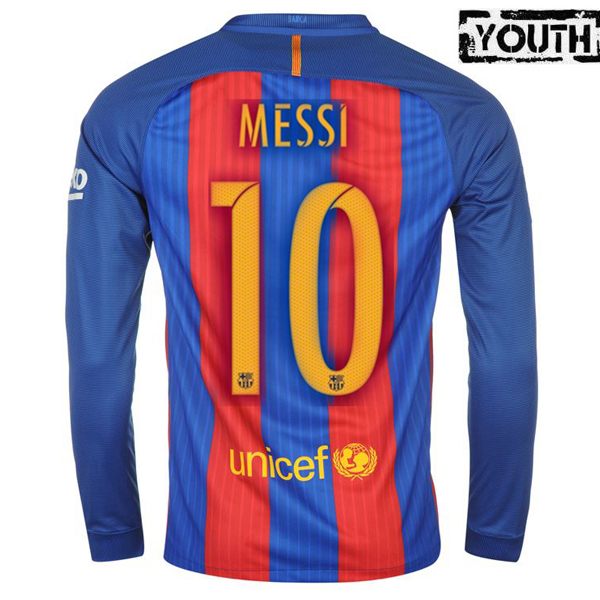 Lionel Messi Youth Home LS Soccer Jersey 16/17 Barcelona #10