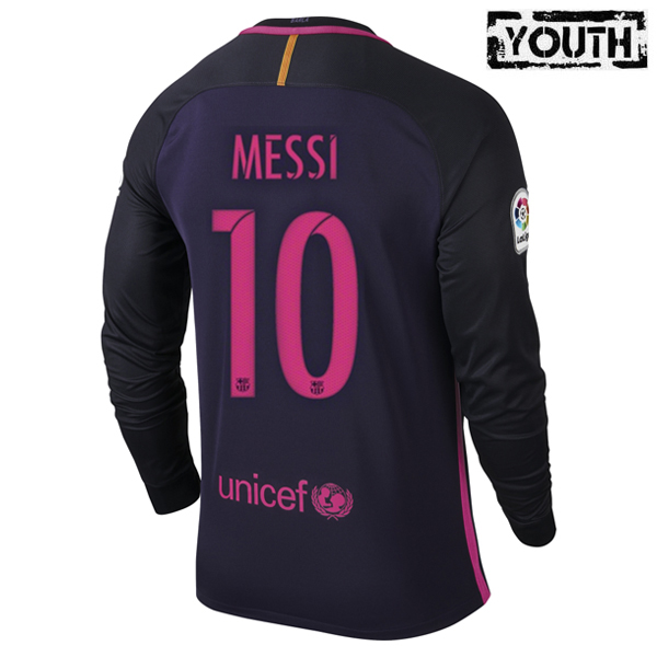 Lionel Messi Youth Away LS Soccer Jersey 16/17 Barcelona #10