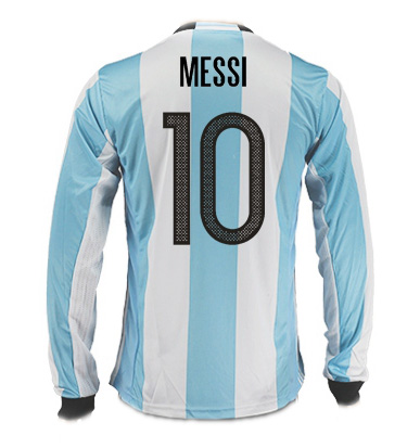 Lionel Messi Home LS Soccer Jersey 2017 Argentina #10