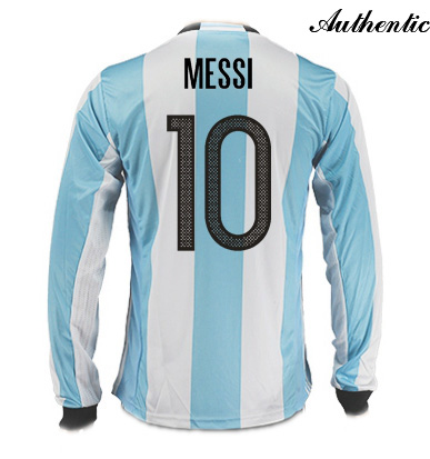 Lionel Messi Authentic Home LS Soccer Jersey 2016 Argentina #10