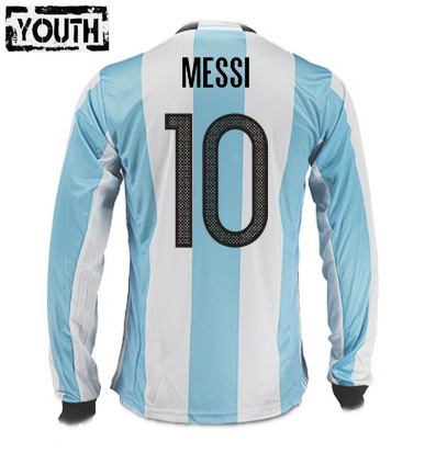 Lionel Messi Youth Home LS Soccer Jersey 2016 Argentina #10