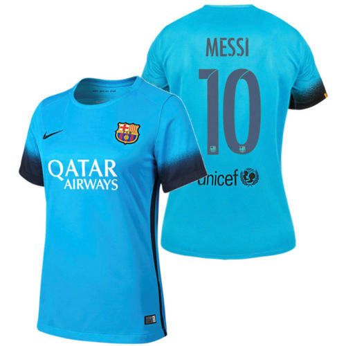 Lionel Messi Women's Third Soccer Jersey 15/16 Barcelona #10