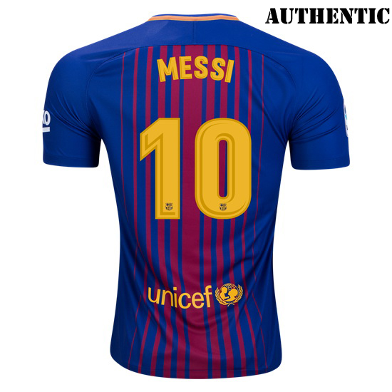 Lionel Messi Authentic Home Soccer Jersey 17/18 Barcelona #10