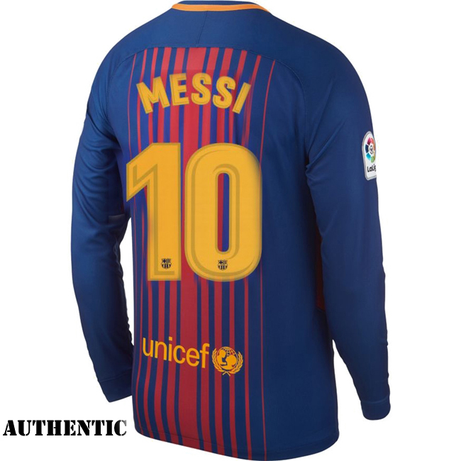 Lionel Messi Authentic Home LS Soccer Jersey 17/18 Barcelona #10