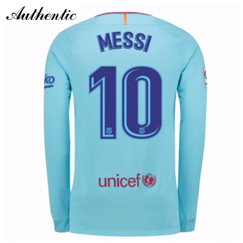 Lionel Messi Authentic Away LS Soccer Jersey 17/18 Barcelona #10