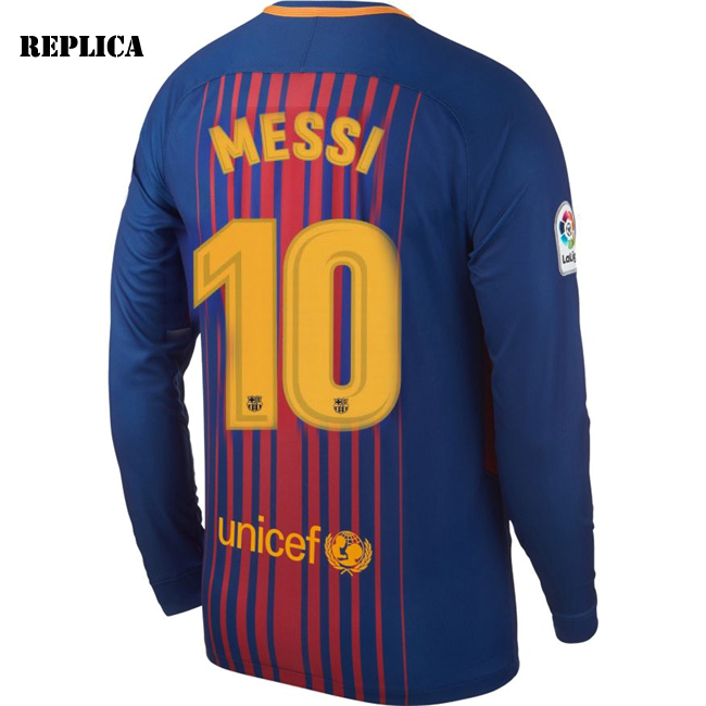 Lionel Messi Home LS Soccer Jersey 17/18 Barcelona #10
