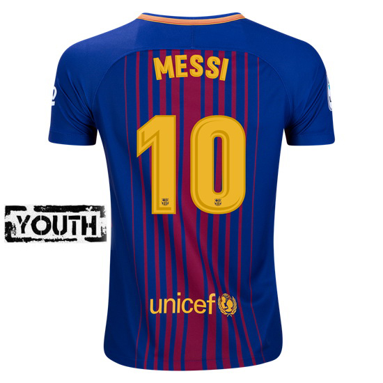 Lionel Messi Youth Home Soccer Jersey 17/18 Barcelona #10