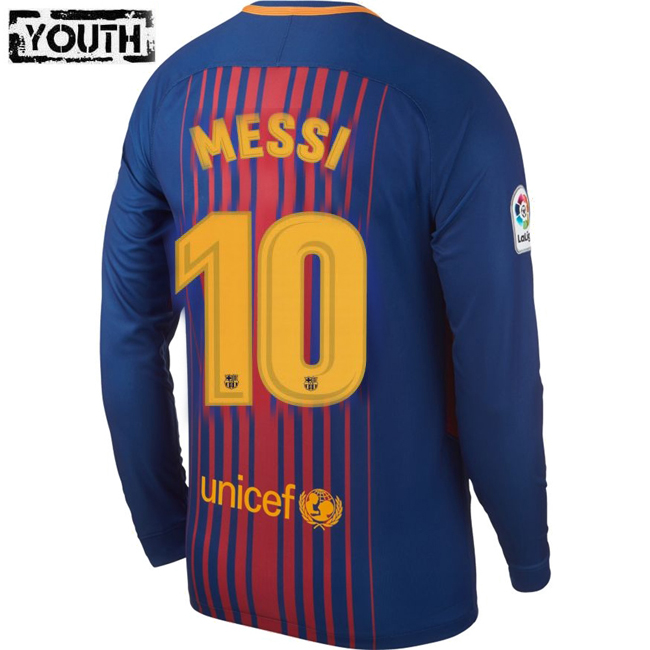 Lionel Messi Youth Home LS Soccer Jersey 17/18 Barcelona #10