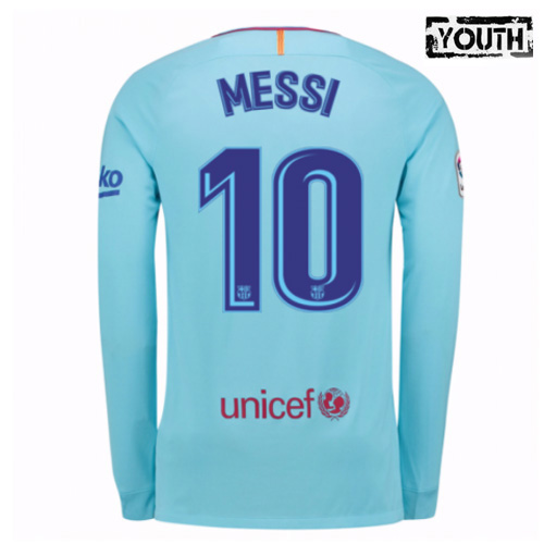 Lionel Messi Youth Away LS Soccer Jersey 17/18 Barcelona #10