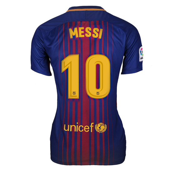 Lionel Messi Women's Home Soccer Jersey 17/18 Barcelona #10