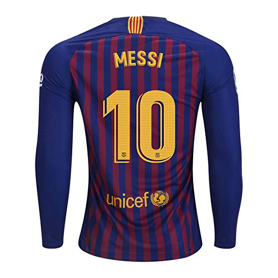Lionel Messi Authentic Home LS Soccer Jersey 18/19 Barcelona #10