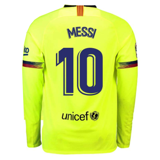Lionel Messi Authentic Away LS Soccer Jersey 18/19 Barcelona #10