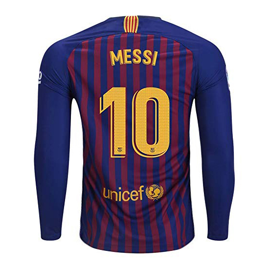 Lionel Messi Home LS Soccer Jersey 18/19 Barcelona #10