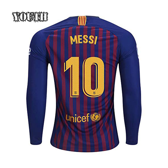 Lionel Messi Youth Home LS Soccer Jersey 18/19 Barcelona #10