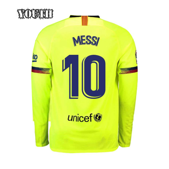 Lionel Messi Youth Away LS Soccer Jersey 18/19 Barcelona #10