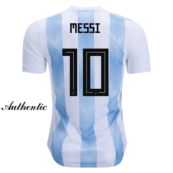 Lionel Messi Authentic Home Soccer Jersey 2018 Argentina #10