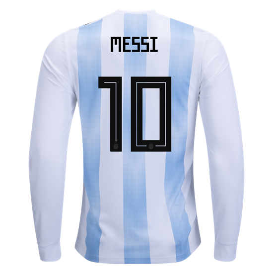 Lionel Messi Home LS Soccer Jersey 2018 Argentina #10