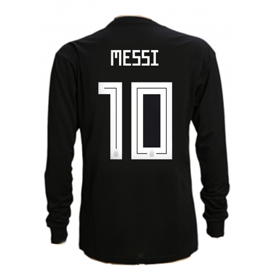 Lionel Messi Away LS Soccer Jersey 2018 Argentina #10