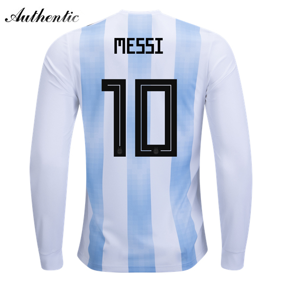 Lionel Messi Authentic Home LS Soccer Jersey 2018 Argentina #10