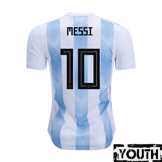 Lionel Messi Youth Home Soccer Jersey 2018 Argentina #10