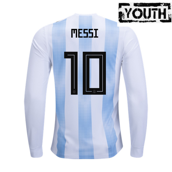 Lionel Messi Youth Home LS Soccer Jersey 2018 Argentina #10