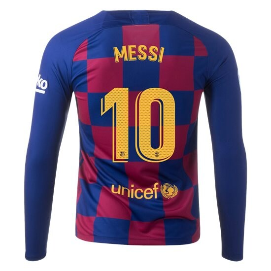 Lionel Messi Home LS Soccer Jersey 19/20 Barcelona #10