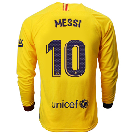 Lionel Messi Away LS Soccer Jersey 19/20 Barcelona #10