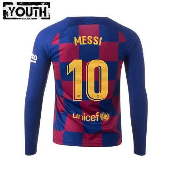Lionel Messi Youth Home LS Soccer Jersey 19/20 Barcelona #10