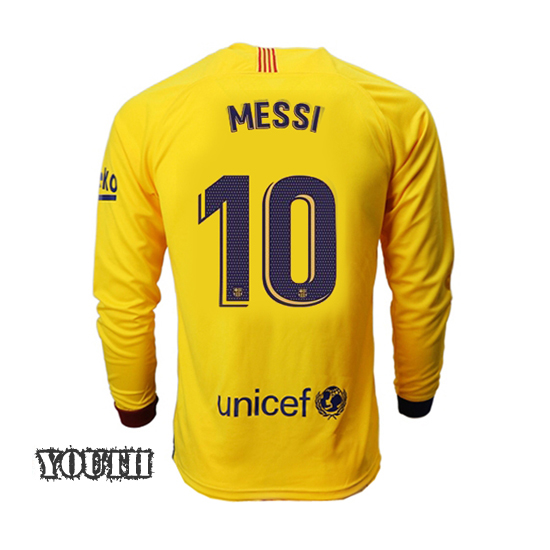 Lionel Messi Youth Away LS Soccer Jersey 19/20 Barcelona #10