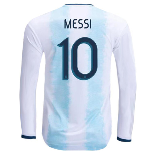 Lionel Messi Authentic Home LS Soccer Jersey 2019 Argentina #10