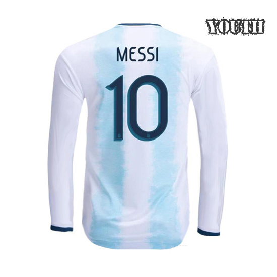 Lionel Messi Youth Home LS Soccer Jersey 2019 Argentina #10
